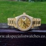 UK Specialist watches have a beautiful 18ct Gold Rolex Lady Date just with Diamond dial and Diamond bezel