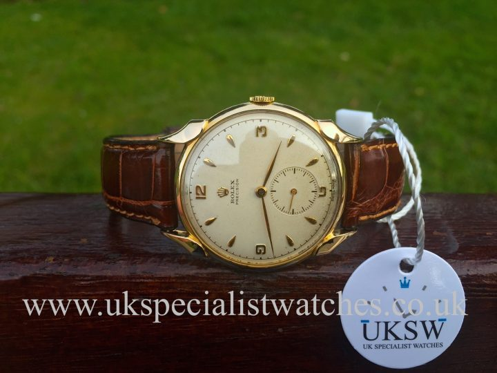 UK Specialist Watches have a rare 9K Vintage Rolex Precision from 1949 with fancy horn lugs.