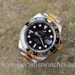 UK Specialist watches have a new model Bi metal Steel and Gold Rolex GMT with the latest ceramic bezel.