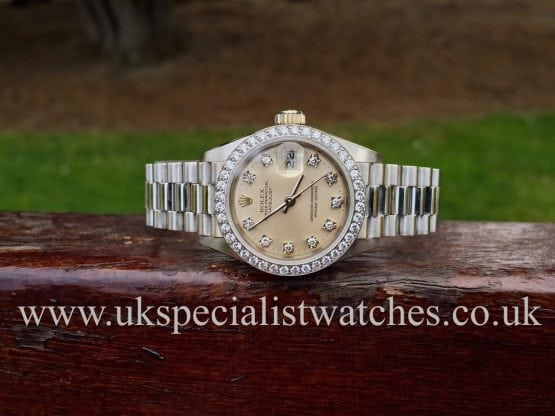 UK Specialist watches have a rare and stunning 18ct White Gold factory diamond set Lady Date Just President
