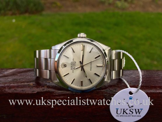 Uk Specialist Watches have a Rolex Air king Precision 5500 Vintage 1982 - Silver Baton Dial