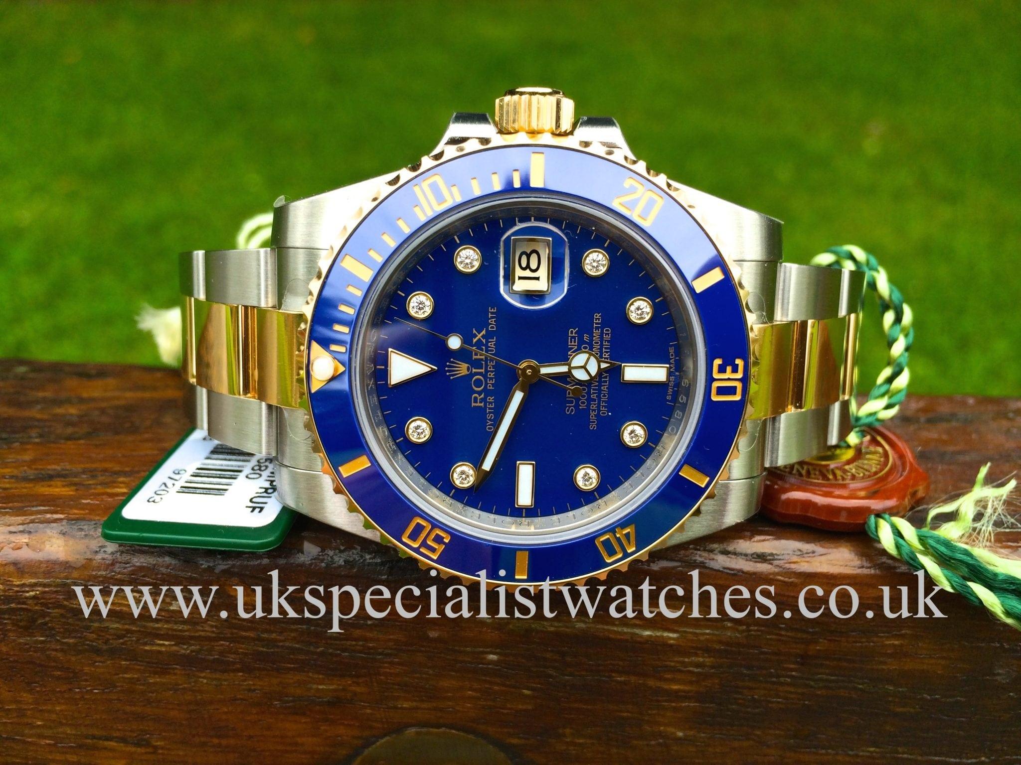Rolex Submariner 116613LB Steel & Gold 'Diamond dial' Unused