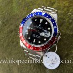 In stock at UK Specialist Watches a mint Rolex GMT Master II Pepsi Bezel 16710 complete full set