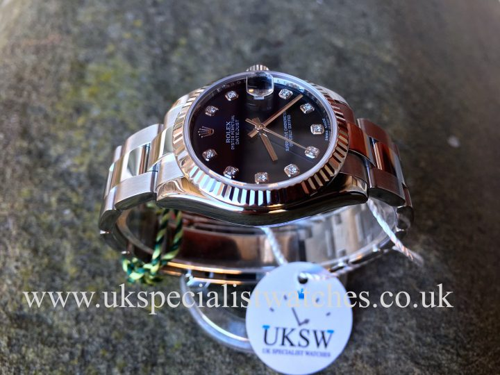 UK Specialist Watches have a beautiful ladies Rolex Mid-Size Datejust 31mm with a factory blue diamond dial - 178274