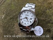 UK Specialist Watches have a Rolex Datejust Stainless Steel - White Roman Dial - 16200