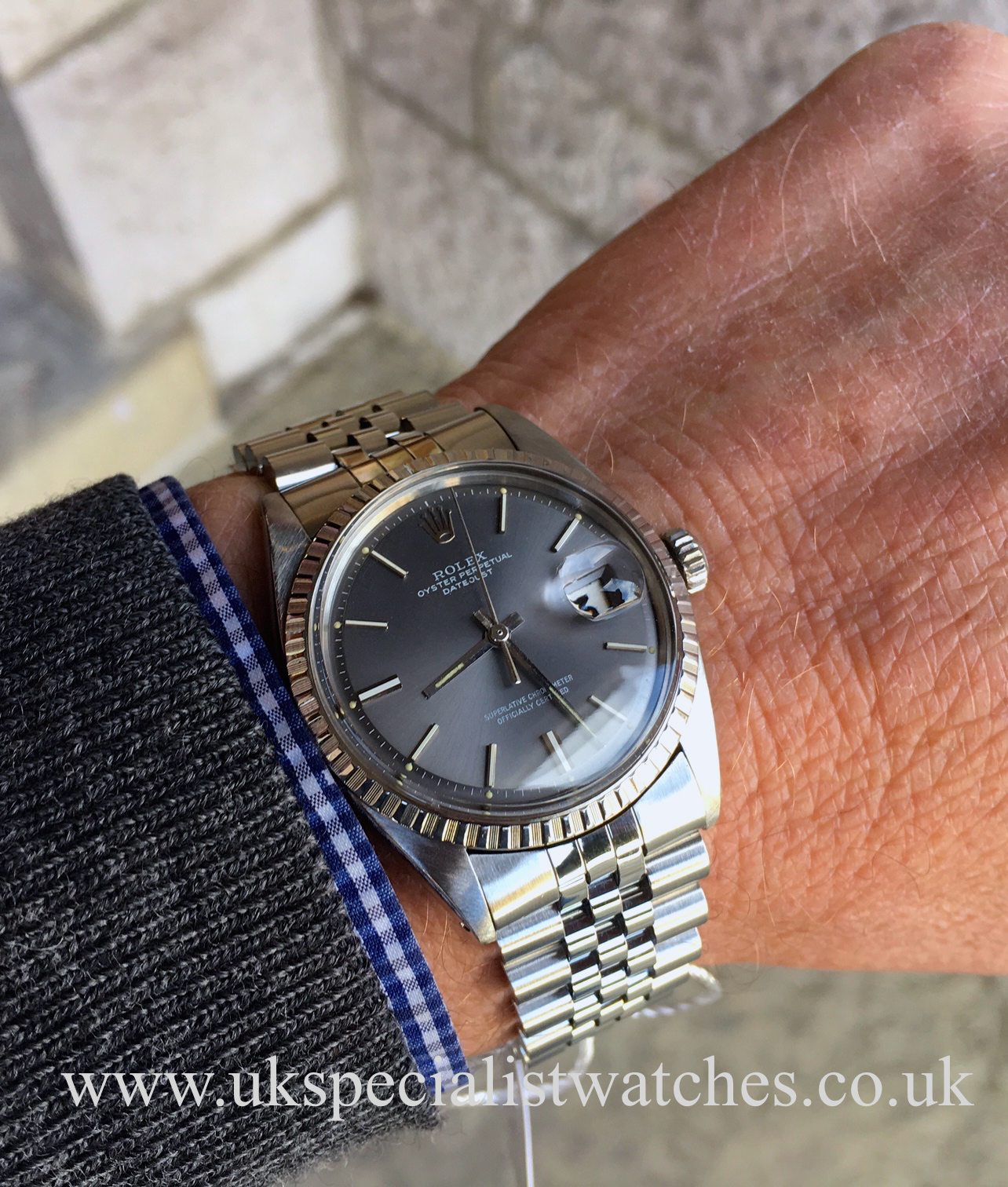 Rolex Datejust 1603 Pan Step Dial Stainless Steel Vintage 1970