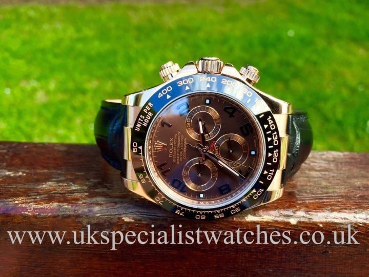 UK Specialist Watches have a 2015 new model Rose Gold Rolex Daytona with a Chocolate Dial-Ceramic bezel- 116515LN