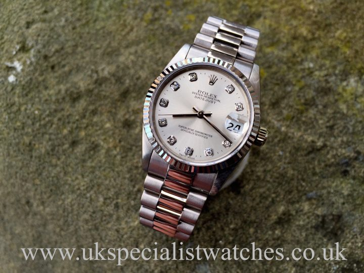 UK Specialist Watches have a white gold mid-size 31 mm Rolex Datejust President 68279