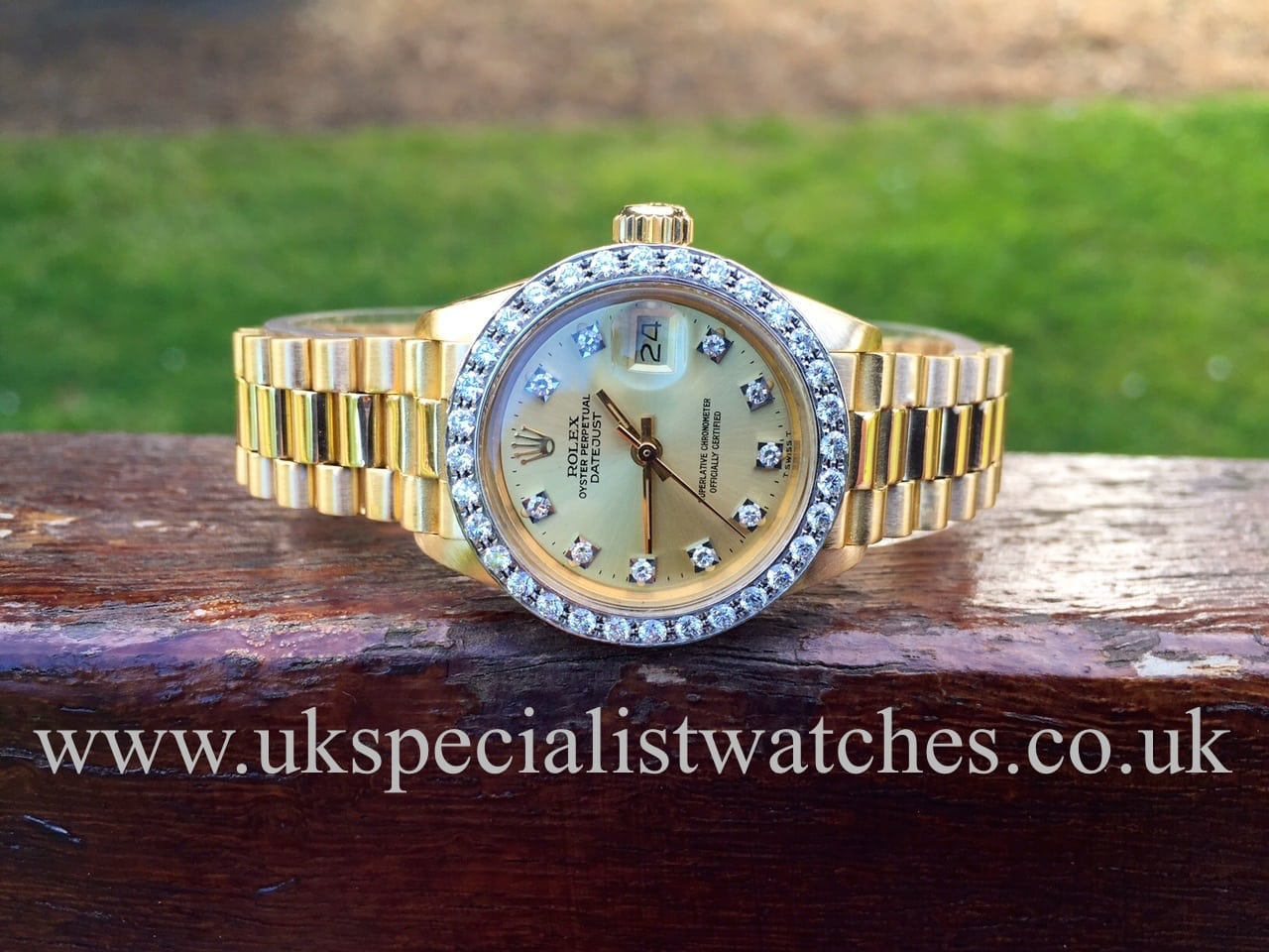Rolex Lady-Date Just President 18ct Gold-Diamond Bezel ...
