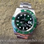 UK Specialist Watches have a new model 2015 Rolex Submariner Hulk with green ceramic bezel 116610LV