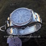 UK Specialist Watches have a stainless steel Rolex AirKing Engine Turned Bezel - White Roman Dial - R14010