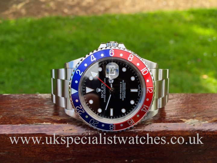 UK Specialist Watches have a Rolex GMT Master II Pepsi Bezel – 16710