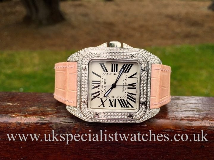 UK Specialist watches have a stunning Cartier Santos 100 fully Diamond set - Mid Size ladies watch - 2878