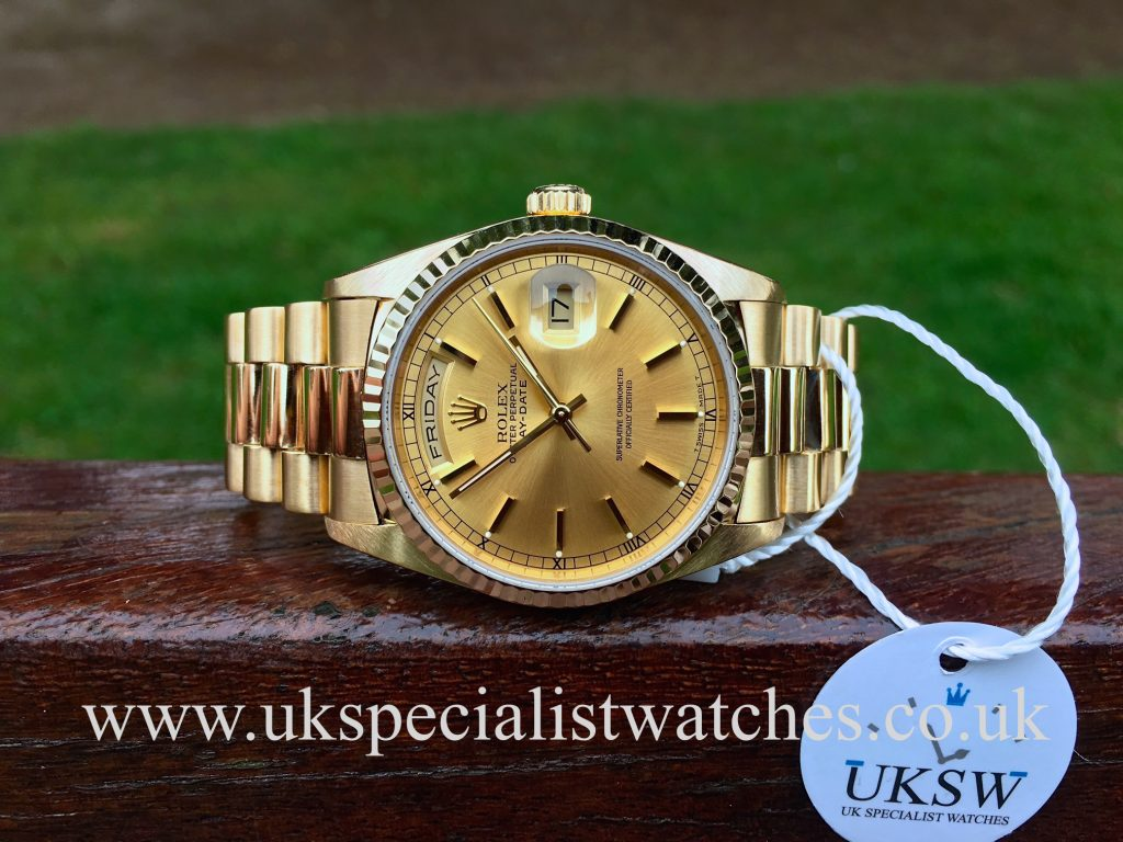 Rolex Day-Date President 18ct Gold – Champagne Dial – 18238 – Full Set