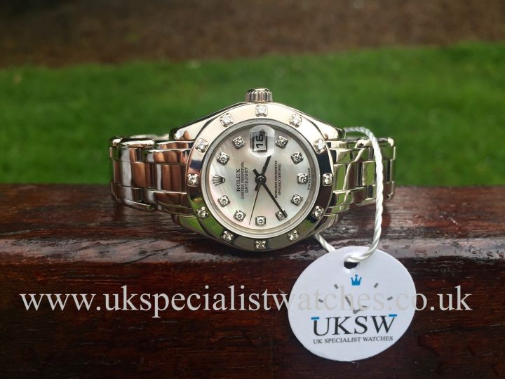 UK Specialist Watches have a stunning ladies Rolex Pearlmaster in 18ct White Gold Masterpiece with a mother of pearl Diamond Dial - 80319