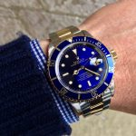 UK Specialist Watches have a beautiful Rolex Submariner 16613 with a blue swiss T 25 dial in 18ct yellow gold and steel
