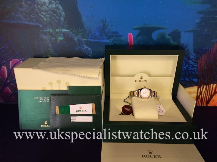 UK Specialist Watches have a Rolex Lady Datejust in steel & 18ct Gold on a oyster bracelet 179173 with a white Roman Dial
