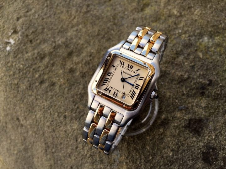 UK Specialist Watches have a Gents Cartier Panthere Steel & Gold just serviced at Cartier London
