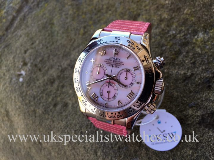 UK Specialist Watches have a rare Rolex Daytona Beach Limited edition in 18ct White Gold with pink mother of pearl dial - 116519