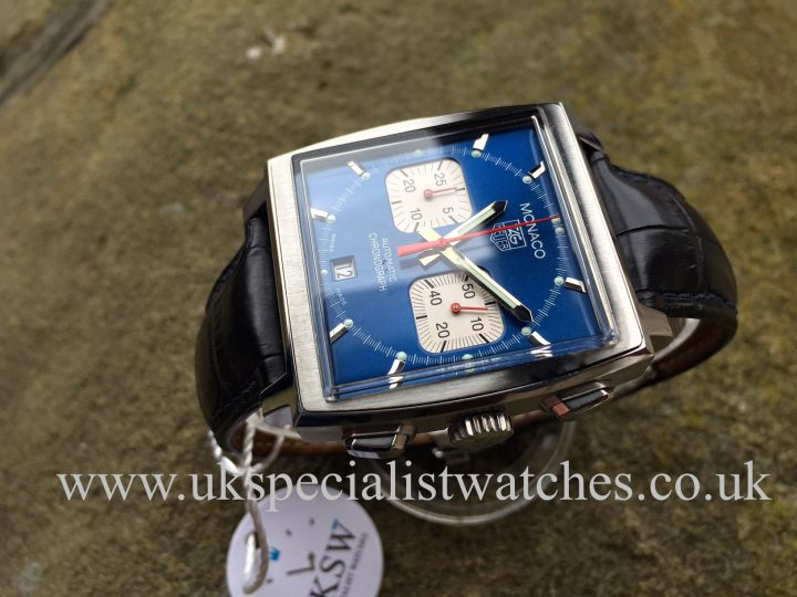 UK Specialist Watches have a Tag Heuer Monaco Chronograph Steve McQueen edition with a blue dial CW2113-0