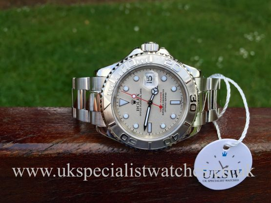 UK Specialist Watches have a full size Rolex Yachtmaster in stainless steel with a platinum bezel 16622