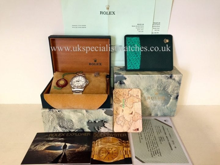 UK Specialist Watches have a absolutely pristine Rolex Explorer II with a White/Creamy Dial - 16570