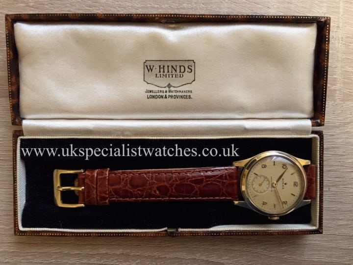 UK Specialist Watches have a beautiful rare Rolex Shock resisting with 9ct Gold dating back to 1949