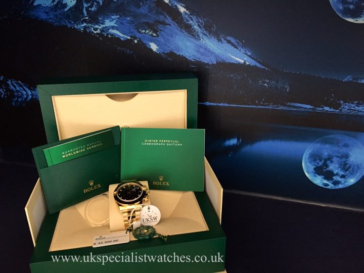 UK Specialist Watches have an unworn 18ct yellow gold Rolex Daytona 116508 with a black dial.