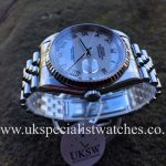 UK Specialist Watches have a Rolex Datejust 16234 with a 36mm stainless steel case and white roman dial.