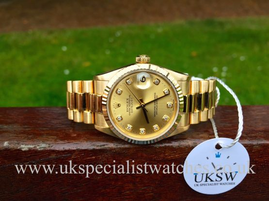 UK Specialist Watches have a full set mid-size 31mm Rolex DateJust in solid 18ct Yellow Gold with a President bracelet complete with box and papers - 78278