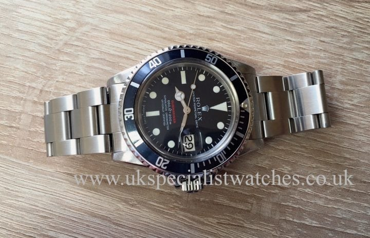 UK Specialist Watches have a extremely rare vintage Rolex Submariner 1680 Single Red Writing with a MK IV dial dated 1969