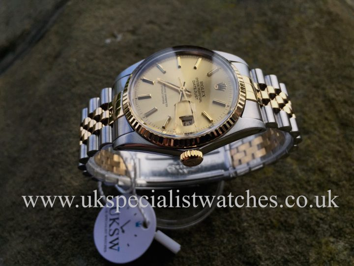 UK Specialist Watches have a full set vintage Rolex datejust bi-metal 16013 with a champagne dial.
