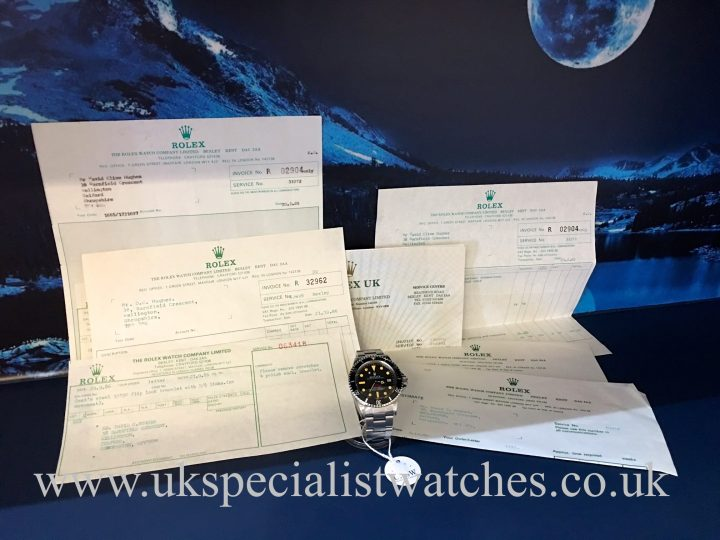 UK Specialist Watches have a rare vintage 1967 Rolex 1665 sea-dweller first edition with Rolex service receipts.