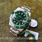 UK Specialist Watches have a new unworn Rolex submariner Hulk 116610LV in stock.