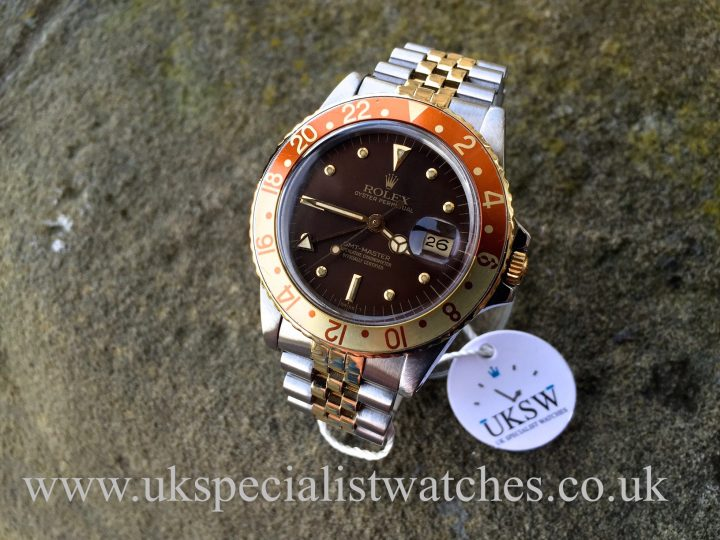 UK Specialist Watches have a full set vintage Rolex GMT Master Root Beer with the rare Nipple Dial-16753 dated from 1982