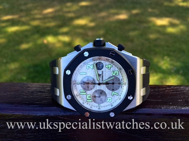 UK Specialist Watches have an immaculate, just serviced Audemars Piguet Royal Oak Offshore 25940SK.OO.D002CA.02 - rubber clad.