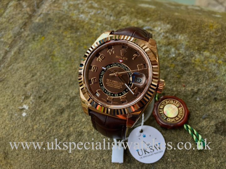 UK Specialist Watches have an unused 18ct Everrose gold Rose Sky-Dweller with a chocolate dial and croc strap - 326135