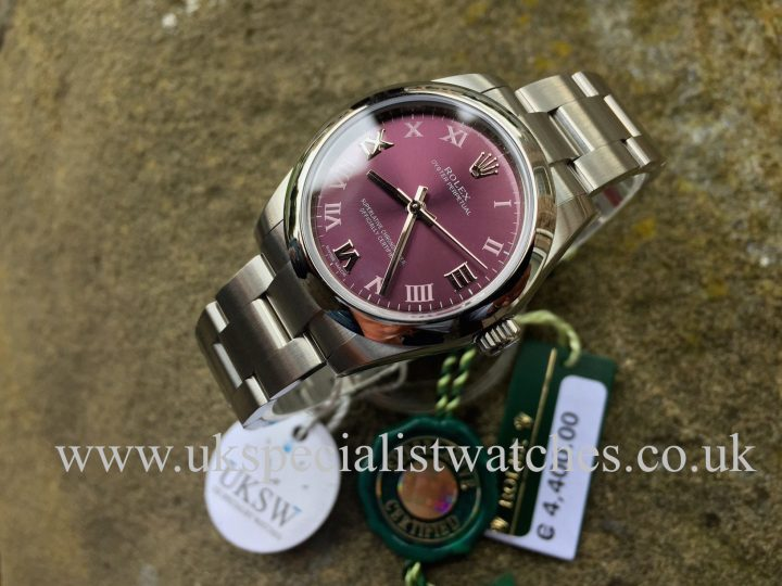 UK Specialist Watches have a brand new stainless steel midsize with a red grape dial - 177200
