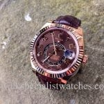 UK Specialist Watches have a new model Rolex Sky-Dweller Rose Gold with a Chocolate dial and Brown Croc Strap - 326135