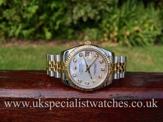 UK Specialist Watches have a stunning Ladies mid size Rolex Date-just in Steel & Gold with a Mother of Pearl Diamond Dial