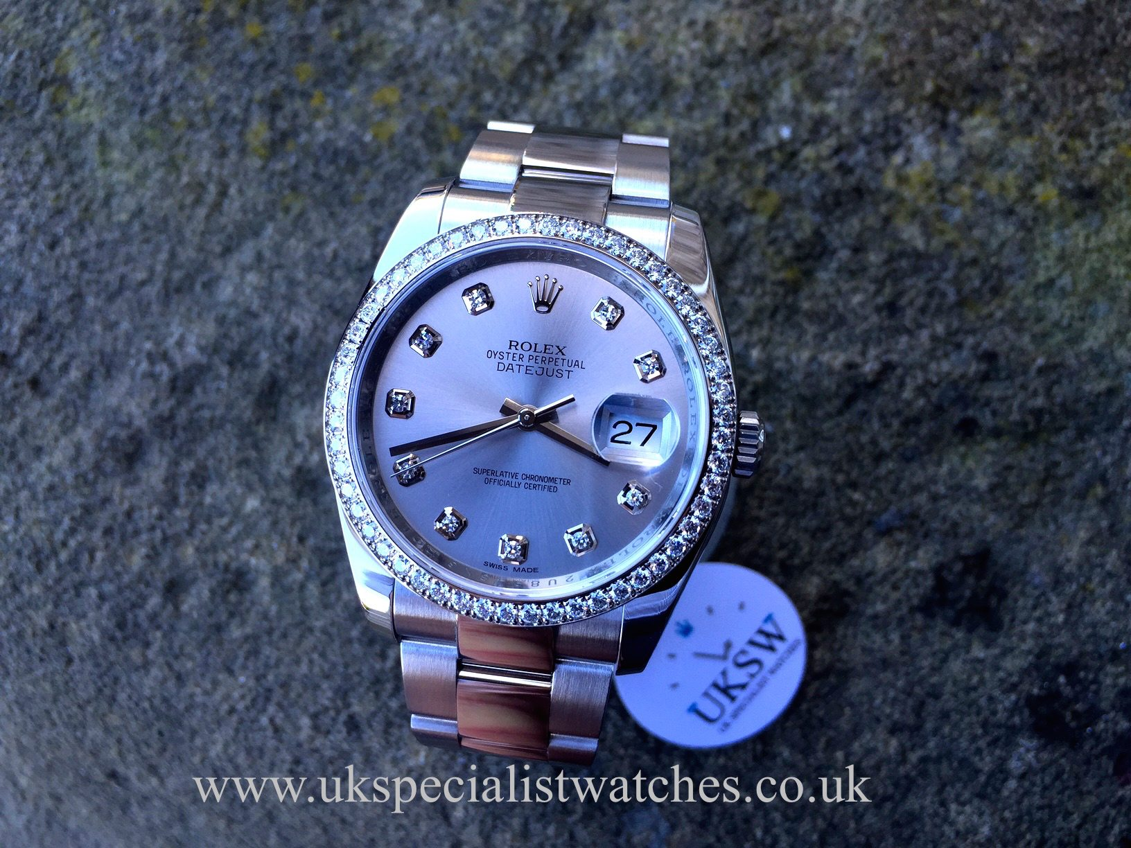 Rolex datejust 36mm diamond bezel diamond dial 116234 uk specialist watches for Diamond dial watch