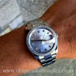 UK Specialist Watches have a Rolex Datejust In stainless steel with a factory diamond bezel and dial 116234
