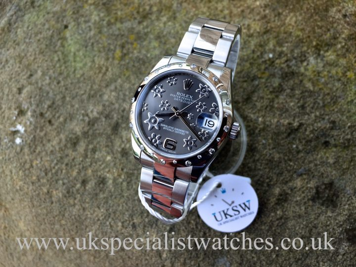 UK Specialist Watches have a Ladies Datejust 31mm midsize with a Rhodium Floral dial and a factory white gold diamond set bezel 178240.
