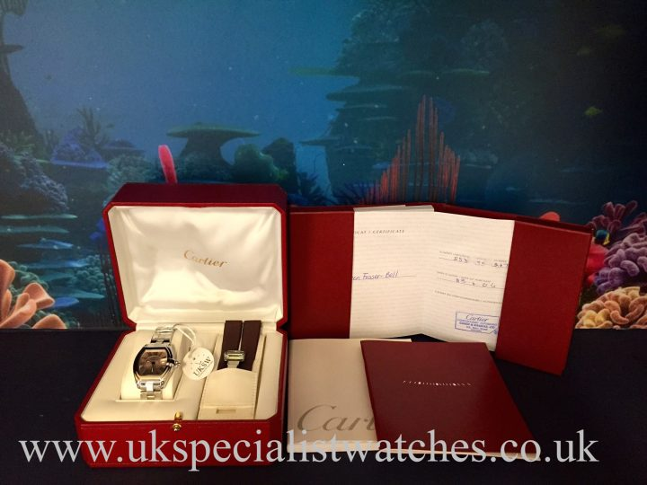 UK Specialist Watches have a mid size cartier Roadster in stainless steel with a pink Roman dial - W62017V3
