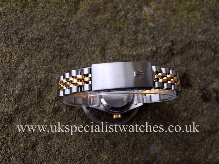 UK Specialist Watches have a 26mm Rolex Datejust bi-metal with a diamond mother of pearl dial.