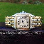 UK Specialist Watches have a Full size Gents Cartier Panthere with 3 rows of 18 ct Gold running through the bracelet
