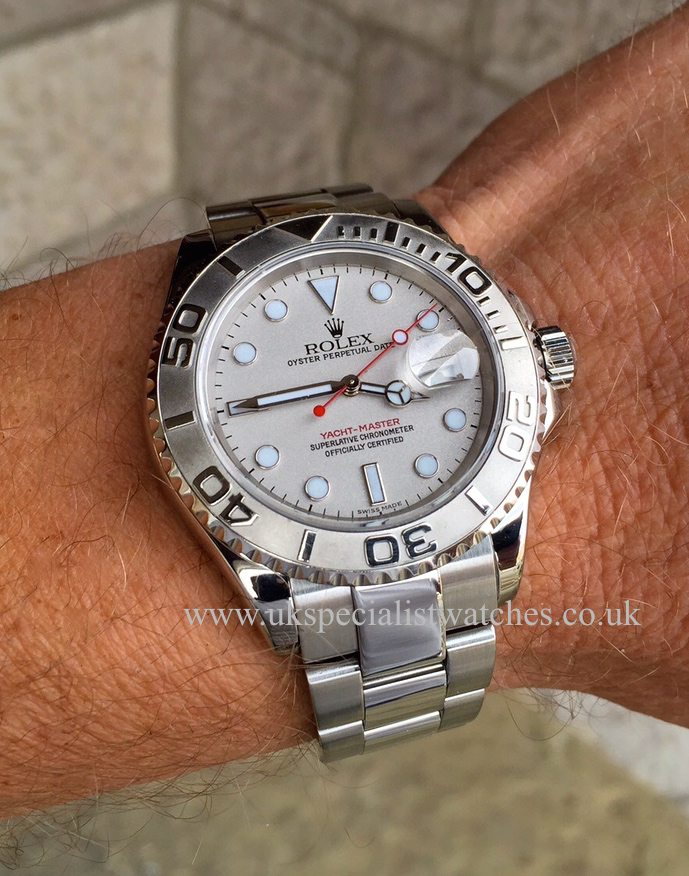 UK SpecialistWatches have a full size Gents Rolex Yacht-master with the Platinum Bezel - 16622