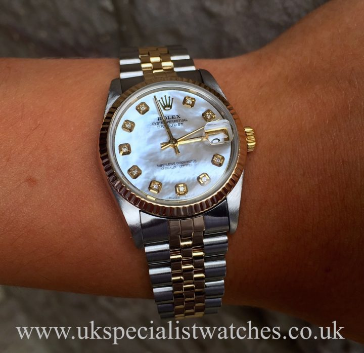 UK Specialist Watches have a bi-metal ladies midsize Rolex with a diamond mother of pearl dial - 68273
