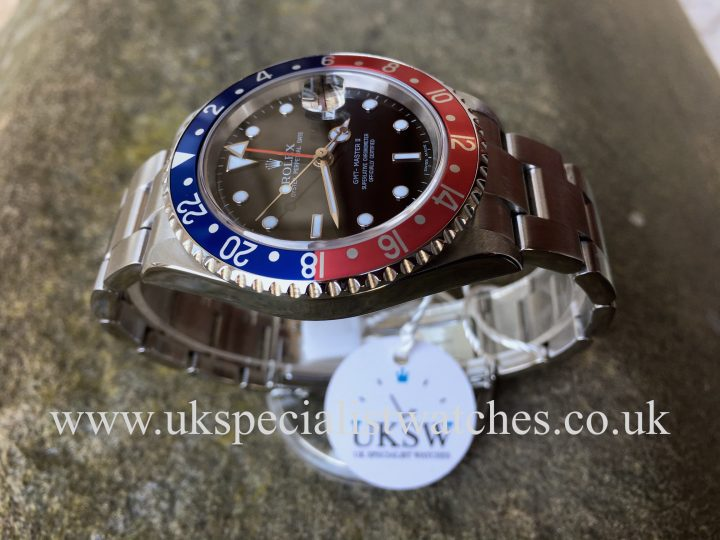 UK Specialist Watches have an extremely desired Rolex GMT Master II - Factory Pepsi Bezel 16710 T – Full Set