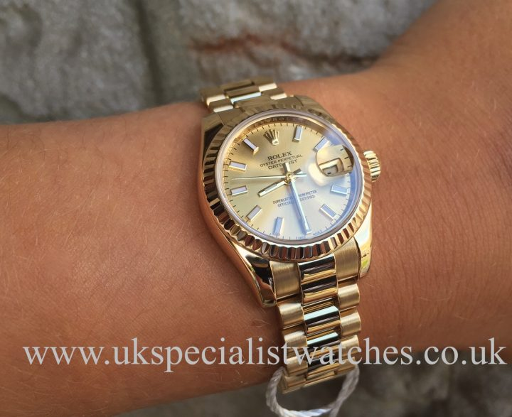 UK Specialist Watches have a ladies solid 18ct Yellow Gold 26mm Datejust President full set - 179178.